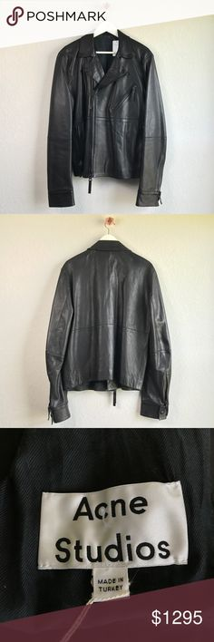 """ACNE STUDIOS biker lambskin leather jacket Notched collar with snap buttons. Offset zipper closure. Three front zippered pockets. Zippered sleeve pocket Zippered sleeve vents w/ snap button on cuff. Interior welt pocket w/ zip and snap button closure. Fully Lined. Color: black. Shell: 100% Lamb Leather. Lining: 52% viscose, 48% cotton. Size: EU 52. Measurements when garment laid flat approximately - shoulder: 19.25"""", chest: 21.5"""", sleeve length: 27"""", back length: 25"""". NWT. Never worn. Store…"""