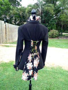 upcycled steampunk victoriana bohemian jacket with floral ruffle collar, back lacings and back bustle skirt
