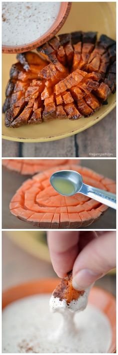Make these Blooming Sweet Potato with Marshmallow Cream Dip as an appetizer or side dish! #client