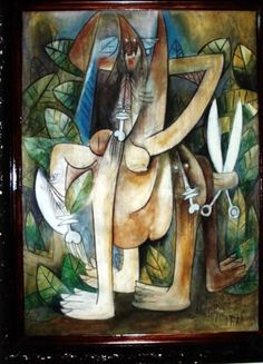 Lamm - the Picasso of Cuba - a State treasure (like Choco). lamm shared a studio with Picasso in Spain. He moved to Paris shortly after and for a short time shared loft space there. This is a piece I have that smacks of that Santeria meets Picasso that is Alfredo Lamm - The name is Wilfredo Lam.Wilfredo not Alfredo, did not meet Picasso in Spain, he met him in 1936 in Picasso´s studio on the Rue des Grands Augustins, France. Lastly, Afro/Asian/Cuban does not equal Santeria Art.