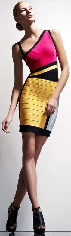 Herve Leger Cutout Colorblock Bandage Dress- Hervé Léger was founded in 1985 One of the peculiarities of Hervé Léger garments is that they are knitted, not Fashion Colours, Love Fashion, Womens Fashion, Fashion Design, Fashion Wear, Dresses 2013, Short Dresses, Vestido Dress, Dress Skirt