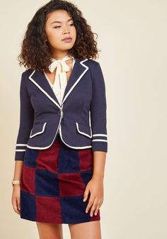 Academia Ahoy Blazer in Navy. Make way for a semester filled with your most creative essays, most refined equations, and of course, this most scholarly navy blue blazer! #gold #prom #modcloth