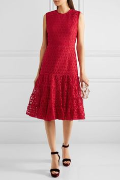 Giambattista Valli - Cotton-blend Guipure Lace Dress - Red - IT46