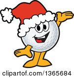 Clipart Of A Golf Ball Sports Mascot Character Wearing A Christmas Santa Hat And Presenting Royalty Free Vector Illustration by Toons4Biz