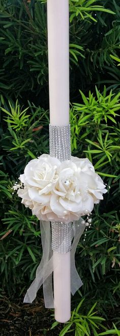 "Stunning rose wedding lambada candle. $350 for set of 2 large 36"" candles and 2 small matching candles."