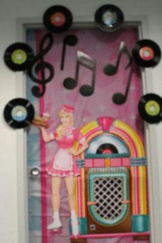 50s Door Decorating Idea Birthday Door, Sweet 16 Birthday, 16th Birthday, 50s Theme Parties, Party Themes, Party Ideas, Christmas Classroom Door, Christmas Door, 80s Party Decorations