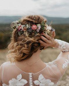 Bridal floral crown Braided Hairstyles, Wedding Hairstyles, Floral Crown, Fishtail, Braid Styles, Boho Decor, Boho Wedding, Bridal Hair, Real Weddings