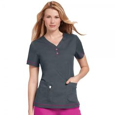 Orange Standard Monterey Top in Charcoal. The Monterey Scrub Top is a must have with its durable and easycare fabric. The Monterey Scrub Top caters for all as it is available in petite and plus sizes.This scrub top has side slits, a henley neckline with contrasting buttons and top stitching. When you roll up your sleeves a contrasting colour is revealed, adding a touch of extra detail. £19.99  #nursescrubs #dentistuniform #nurses #dentists #greyscrubs