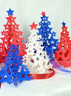 Inspiration Design file for papercraft Christmas tree - Ashbee Design Silhouette Projects: Four-Panel Tree Silhouette Tutorial 3d Paper Star, Paper Stars, 3d Star, Noel Christmas, Christmas Crafts, Christmas Decorations, Diy Paper, Paper Crafts, Christmas Tree Silhouette