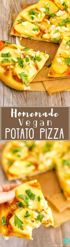 This Homemade Vegan Potato Pizza is loaded with simple yet flavorful ingredients. Delicious & healthier version of the classic cheesy pizza. via Happy Foods Tube We are want to say thanks if you like to share. Potato Pizza Recipe, Vegan Pizza Recipe, Potato Recipes, Vegetarian Recipes, Healthy Recipes, Vegetarian Cooking, Cooking Bacon, Making Homemade Pizza, Happy Foods