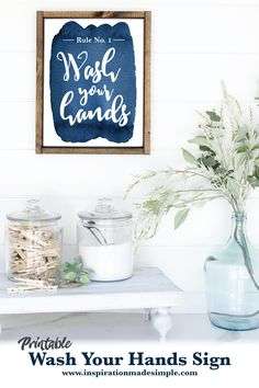 Printable 5x7 Wash Your Hands Watercolor Artwork