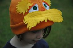 Lorax Inspired Fleece Hat - Dr Seuss Lorax Beanie - Halloween Costume - Halloween Costume - Kid Costume. $30.00, via Etsy.