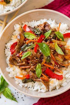 Thai Basil Beef Bowls by cookingclassy #Beef #Thai #Healthy