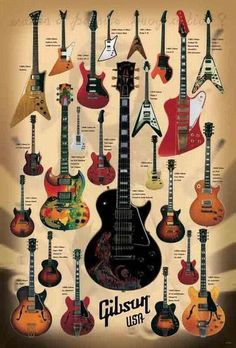 24 Models Electric Guitar Brand Gibson Paper Poster Music Instrument Plus Guitar Shop, Guitar Art, Music Guitar, Cool Guitar, Playing Guitar, Learning Guitar, Guitar Tips, Les Paul Guitars, Fender Guitars