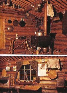 Dick Proenneke's cabin - stove and window Small Log Cabin, Tiny Cabins, Tiny House Cabin, Little Cabin, Log Cabin Homes, Cabins And Cottages, Cozy Cabin, Log Cabins, Alaskan Cabins