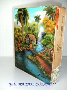 Genuine Cigar Box with Cuban Artwork Paisaje by thebestart1122
