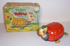 1950s Battery Operated Tubby The Turtle Japan Tin Litho Toy Cragstan Y Co