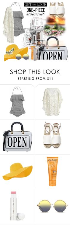 """""""Swimsuit"""" by r-dereli ❤ liked on Polyvore featuring Moschino, Accessorize, Caudalíe, Jane Iredale, Matthew Williamson, Nanette Lepore, GetTheLook and Swimsuits"""