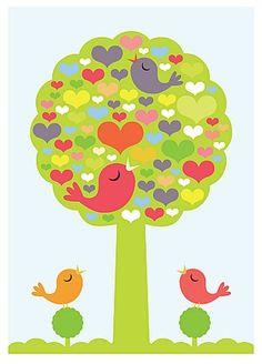 Printables - round tree birds
