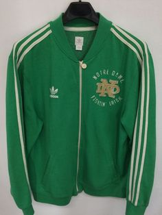 VINTAGE XL ADIDAS ORIGINALS NOTRE DAME FIGHTING IRISH TRACK JACKET GREEN  TREFOIL  adidas  NotreDameFightingIrish f9eb7a328cb3f