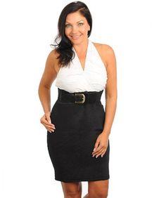 12a28a10b05 Stanzino Women s V-neck Plus Size Halter Dress with Belt black 2XL at  Amazon Women s Clothing store  One Shoulder Plus Size Dresses