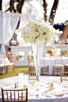 Elegant All-White Flower Centerpieces