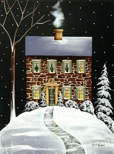 """""""Evergreen Cottage"""" Painting by Catherine Holman"""