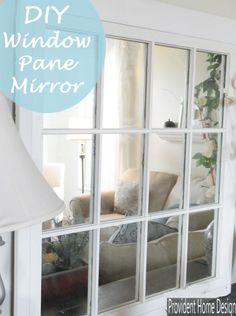 Window pane Mirror! great way to brighten up a dark windowless basement.