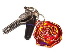 Red Rose Flower Bag Charm Valentine Key Ring Holographic Red Rose Flower, Flower Bag, Red Roses, Key Rings, Holographic, Charms, Personalized Items, Flowers, Bags
