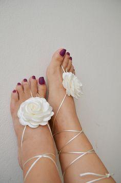 LUX   White flower Beach wedding barefoot by ArtofAccessory, $30.00
