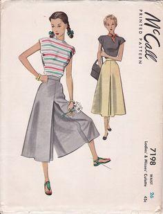 1948 culotte pattern McCall 7198
