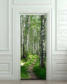 "Amazon.com: Wall Door STICKER birch, forest, road, way, passageway, poster, mural, decole, film 30x79"" (77x200 Cm): Home & Kitchen"