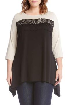 ec4c1d9c6be Karen Kane Lace Trim Handkerchief Hem Top (Plus Size)