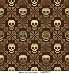 Seamless pattern with skull and ethnic mexican elements. Day of the dead, a traditional holiday in Mexico. For postcard or celebration design. Traditional Latin American patterns and ornaments Crochet Skull Patterns, Fair Isle Knitting Patterns, Beading Patterns, Cross Stitch Patterns, Knitting Basics, Knitting Charts, Knitting Stitches, Knitting Projects, Free Knitting