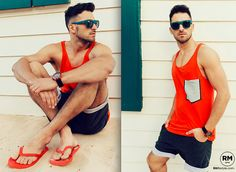 RAFAL MASLAK - H&M Tank Top, Keyce Shorts, H&M Slippers, Giorgio Armani Sunglasses, Ice Watch Watch - OUTFIT OF THE DAY #27