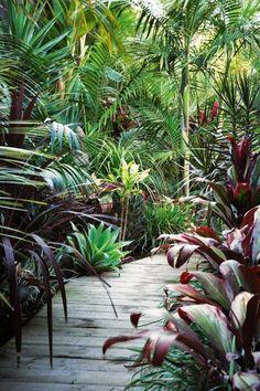 Tropical garden Ideas, tips and photos. Inspiration for your tropical landscaping. Tropical landscape plants, garden ideas and plans. Balinese Garden, Bali Garden, Diy Garden, Dream Garden, Garden Paths, Garden Villa, Lush Garden, Tropical Garden Design, Tropical Landscaping