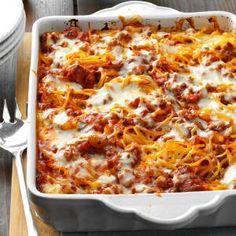 Mozzarella Baked Spaghetti Recipe from Taste of Home -- shared by Betty Rabe of Mahtomedi, Minnesota