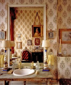 Lady Diana's Cooper's small elegantly papered bath