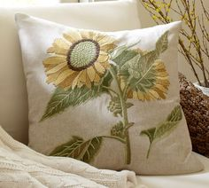 Double Sunflower Embroidered Pillow Cover   Pottery Barn