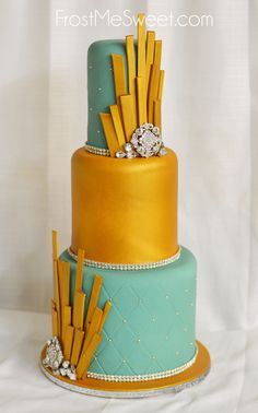 gold teal art deco wedding cake by Frost Me SWeet