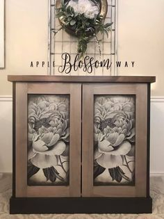 Weathervane, Black Walnut Glaze, and Black Glaze come together beautifully on this special piece from Apple Blossom Way! www.wiseowlpaint.com #wiseowlpaint #painted #cabinet #weathervane #glaze