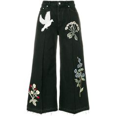 Alexander McQueen embroidered patch wide leg jeans ($2,395) ❤ liked on Polyvore featuring jeans, black, alexander mcqueen jeans, button-fly jeans, cropped jeans, high-waisted jeans and high waisted jeans