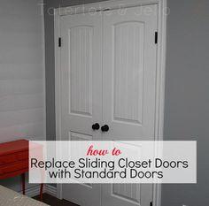 how to replace slideing closet doors with standard doors