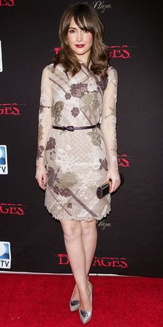 "Rose Byrne in Valentino Fall 2011 dress, Kotur clutch and Gio Diev 'Nikko II' leather pumps at the N.Y. premiere of season 4 of ""Damages"""