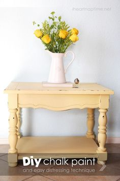 Learn how to make your own chalk paint  (for cheap) and distress furniture on http://iheartnaptime.net