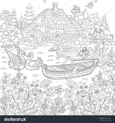 Coloring book page of rural landscape, flower meadow, lake, farm house, ducks, kitten, swans, horses, frog, storks. Freehand drawing for adult antistress colouring with doodle and zentangle elements.
