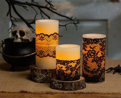 #HandmadeHalloween  ~DIY Halloween : DIY Elegant Black Lace Candles DIY Halloween Decor