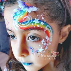 Regenbogenwirbel - Famous Last Words Girl Face Painting, Face Painting Designs, Rainbow Face Paint, Rainbow Eye Makeup, Christmas Face Painting, Face Paint Makeup, Rainbow Swirl, Maquillage Halloween, Island Girl