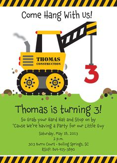 Free Construction Party Templates Of Crane Construction Truck Birthday Party Invitation by Construction Party Decorations, Construction Birthday Invitations, Birthday Party Invitations Free, Construction Birthday Parties, 3rd Birthday Parties, Birthday Fun, Birthday Banners, Third Birthday, 1st Birthdays