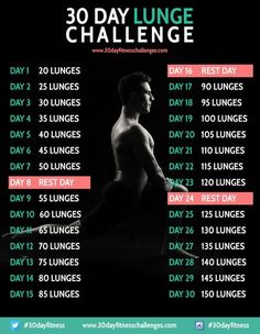 30 Day Lunge Challenge Fitness Workout Chart - I think this will be my April Challenge after my squat challenge! I'm a fitness addict! Corps Fitness, Fitness Herausforderungen, Fitness Motivation, Sport Motivation, Health Fitness, Summer Fitness, Fitness Workouts, Wod Workout, Fitness Quotes